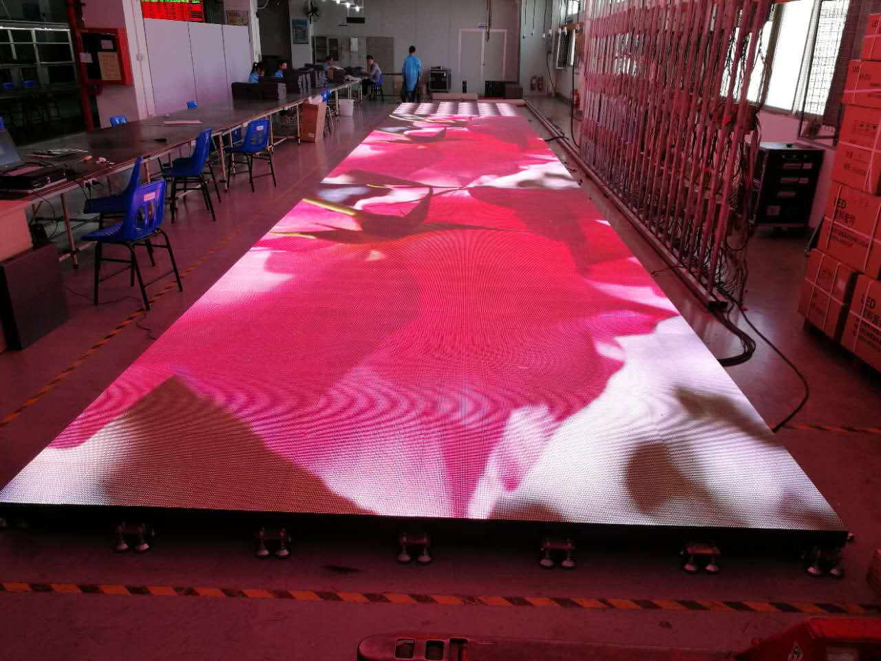 The interactive LED floor tile screen needs to be tested before leaving the factory.