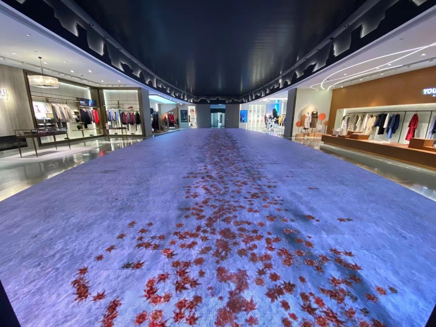 The use of LED floor tiles in shopping malls.