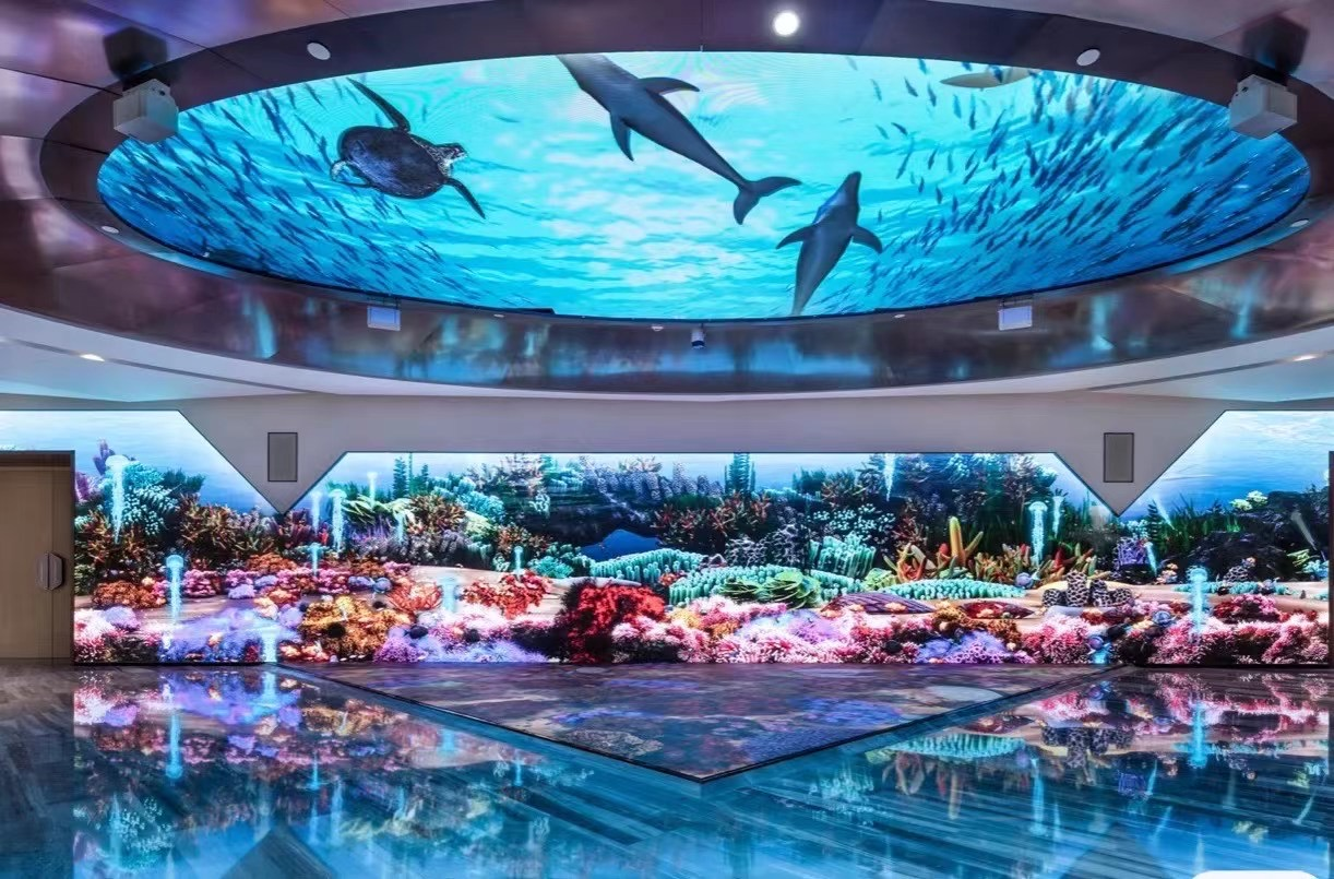 The LED floor tile screen is used in the American Aquarium.